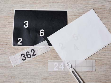 Foil letters and numbers sheet