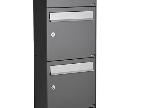 ALLUX HC 4 WITHOUT LOCK - 4 MODULE ANTHRACITE RAL 7012S WITH GREY FLAP RAL 9006