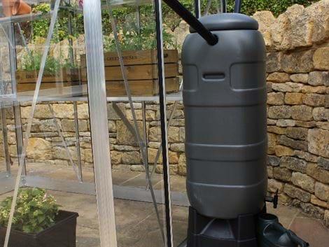 Grey 100ltr mini rainsaver water butt + stand